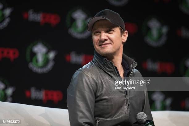 Actor Jeremy Renner speaks on stage during Emerald City Comic Con at Washington State Convention Center on March 3 2017 in Seattle Washington