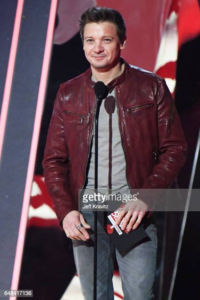 Actor Jeremy Renner speaks onstage at the 2017 iHeartRadio Music Awards which broadcast live on Turner's TBS TNT and truTV at The Forum on March 5...