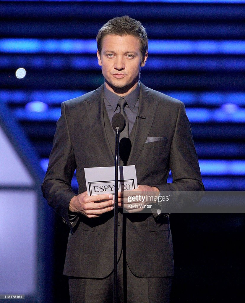 Actor <a gi-track='captionPersonalityLinkClicked' href=/galleries/search?phrase=Jeremy+Renner&family=editorial&specificpeople=708701 ng-click='$event.stopPropagation()'>Jeremy Renner</a> speaks onstage during the 2012 ESPY Awards at Nokia Theatre L.A. Live on July 11, 2012 in Los Angeles, California.