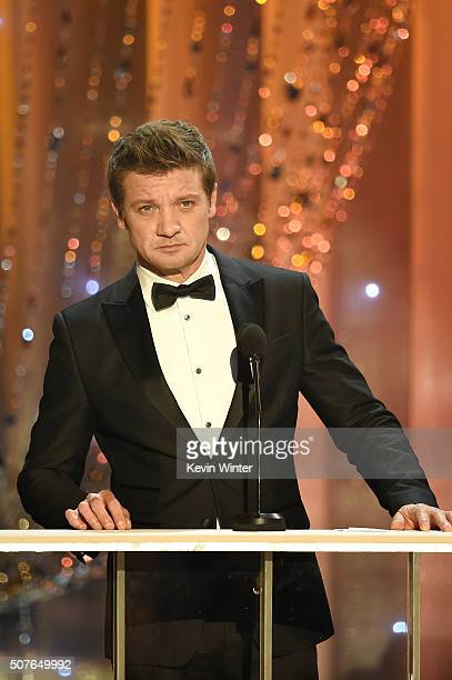 Actor Jeremy Renner speaks onstage during The 22nd Annual Screen Actors Guild Awards at The Shrine Auditorium on January 30 2016 in Los Angeles...