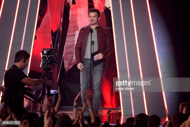 Actor Jeremy Renner walks onstage at the 2017 iHeartRadio Music Awards which broadcast live on Turner's TBS TNT and truTV at The Forum on March 5...