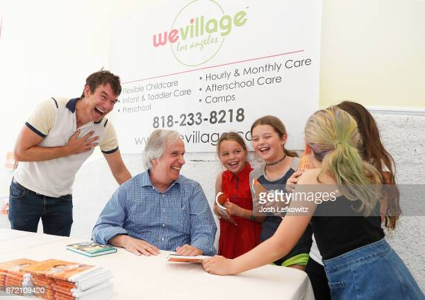 Actor Jerry O'Connell and his daughters Dolly and Charlie are laughing while attending the Henry Winkler book signing at WeVillage Flexible Childcare...