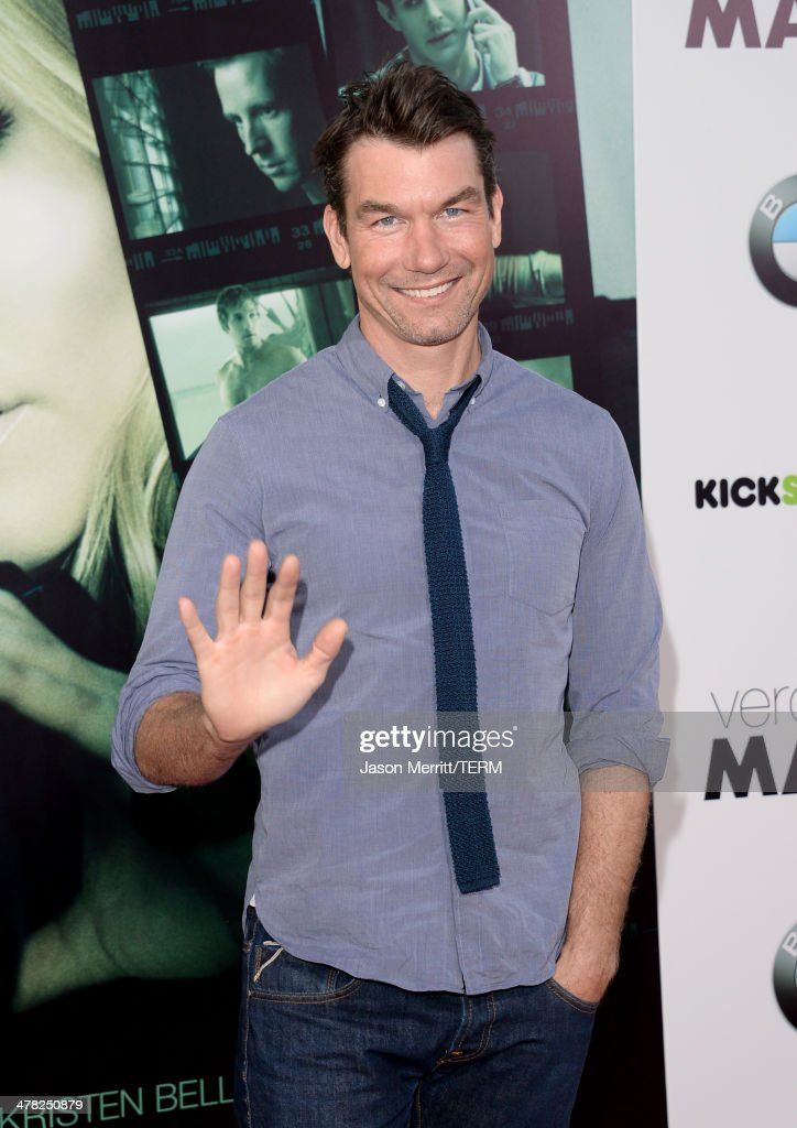 Actor Jerry O'Connell arrives at the Los Angeles premiere of 'Veronica Mars' at TCL Chinese Theatre on March 12, 2014 in Hollywood, California.