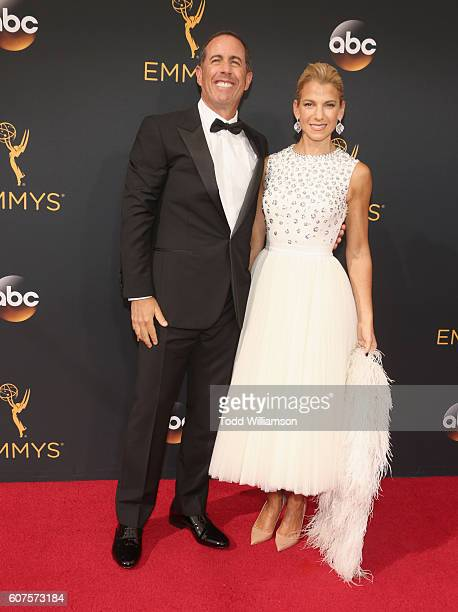Actor Jerry Seinfeld and author Jessica Seinfeld attend the 68th Annual Primetime Emmy Awards at Microsoft Theater on September 18 2016 in Los...