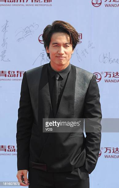 Actor Jerry Yan attends a launching ceremony for the Qingdao Oriental Movie Metropolis on September 22 2013 in Qingdao China