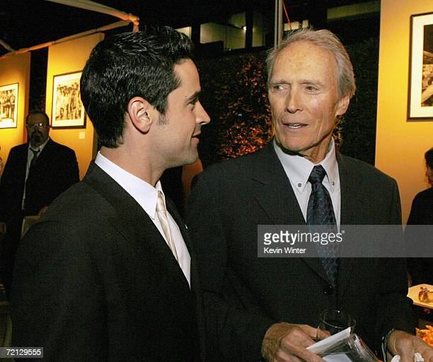 Actor Jesse Bradford and actor/director Clint Eastwood talk at the afterparty for the premiere of Paramount's 'Flags Of Our Fathers' at the Academy...