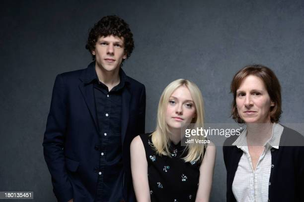 Actor Jesse Eisenberg actress Dakota Fanning and director Kelly Reichardt of 'Night Moves' pose at the Guess Portrait Studio during 2013 Toronto...
