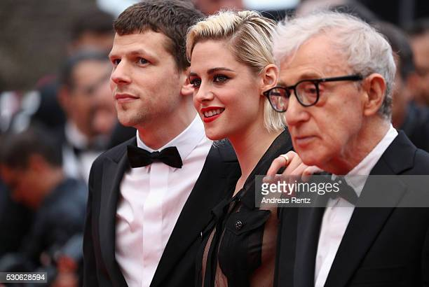 Actor Jesse Eisenberg actress Kristen Stewart and director Woody Allen attend the 'Cafe Society' premiere and the Opening Night Gala during the 69th...