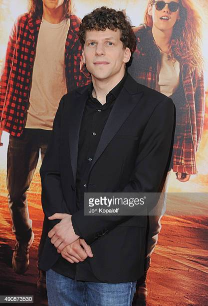 Actor Jesse Eisenberg arrives at the Los Angeles Premiere 'American Ultra' at Ace Theater Downtown LA on August 18 2015 in Los Angeles California