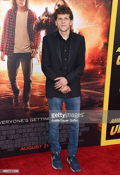 Actor Jesse Eisenberg arrives at the premiere of Lionsgate's 'American Ultra' at Ace Theater Downtown LA on August 18 2015 in Los Angeles California