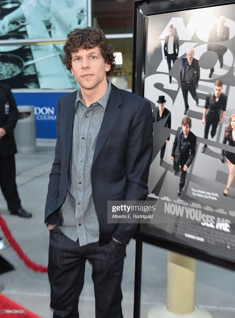 Actor <a gi-track='captionPersonalityLinkClicked' href=/galleries/search?phrase=Jesse+Eisenberg&family=editorial&specificpeople=625439 ng-click='$event.stopPropagation()'>Jesse Eisenberg</a> attends a special screening of Summit Entertainment's 'Now You See Me' at the ArcLight Theaters Hollywood on May 23, 2013 in Hollywood, California.