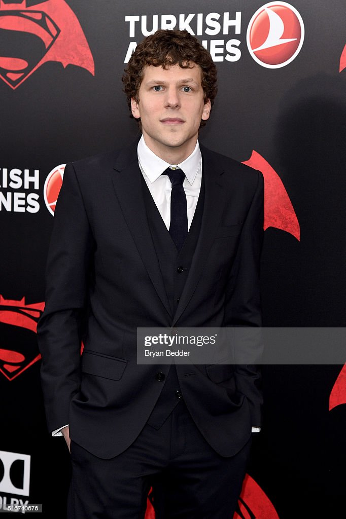 Actor <a gi-track='captionPersonalityLinkClicked' href=/galleries/search?phrase=Jesse+Eisenberg&family=editorial&specificpeople=625439 ng-click='$event.stopPropagation()'>Jesse Eisenberg</a> attends the launch of Bai Superteas at the 'Batman v Superman: Dawn of Justice' premiere on March 20, 2016 in New York City.