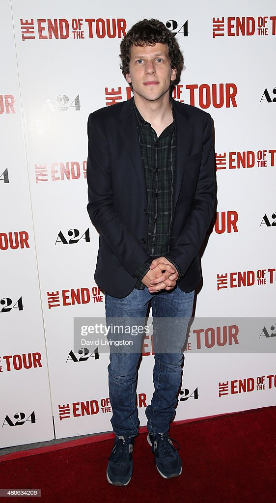 Actor <a gi-track='captionPersonalityLinkClicked' href=/galleries/search?phrase=Jesse+Eisenberg&family=editorial&specificpeople=625439 ng-click='$event.stopPropagation()'>Jesse Eisenberg</a> attends the premiere of A24's 'The End of the Tour' at the Writers Guild Theater on July 13, 2015 in Beverly Hills, California.
