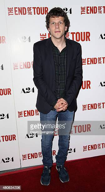 Actor Jesse Eisenberg attends the premiere of A24's 'The End of the Tour' at the Writers Guild Theater on July 13 2015 in Beverly Hills California