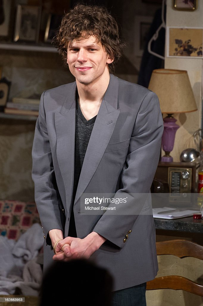 Actor <a gi-track='captionPersonalityLinkClicked' href=/galleries/search?phrase=Jesse+Eisenberg&family=editorial&specificpeople=625439 ng-click='$event.stopPropagation()'>Jesse Eisenberg</a> attends 'The Revisionist' Opening Night at Cherry Lane Theatre on February 28, 2013 in New York City.
