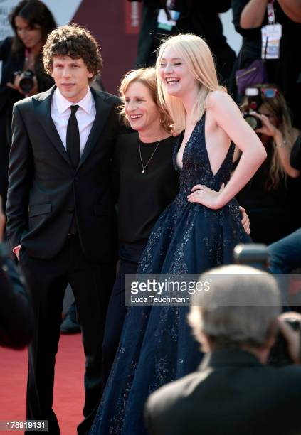 Actor Jesse Eisenberg director Kelly Reichardt and actress Dakota Fanning attend 'Night Moves' Premiere during the 70th Venice International Film...