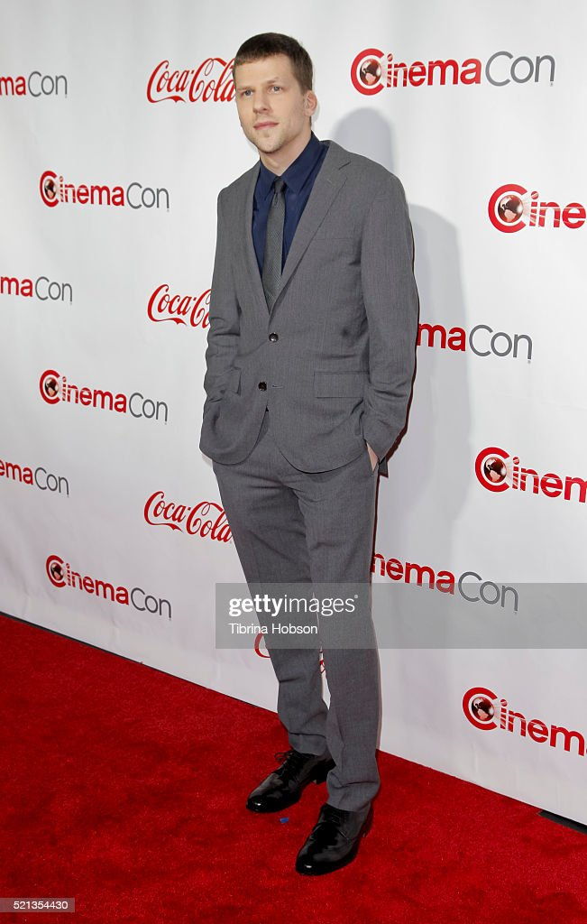 Actor Jesse Eisenberg recipient of the Male Star of the Year Award attends the CinemaCon Big Screen Achievement Awards brought to you by the CocaCola...