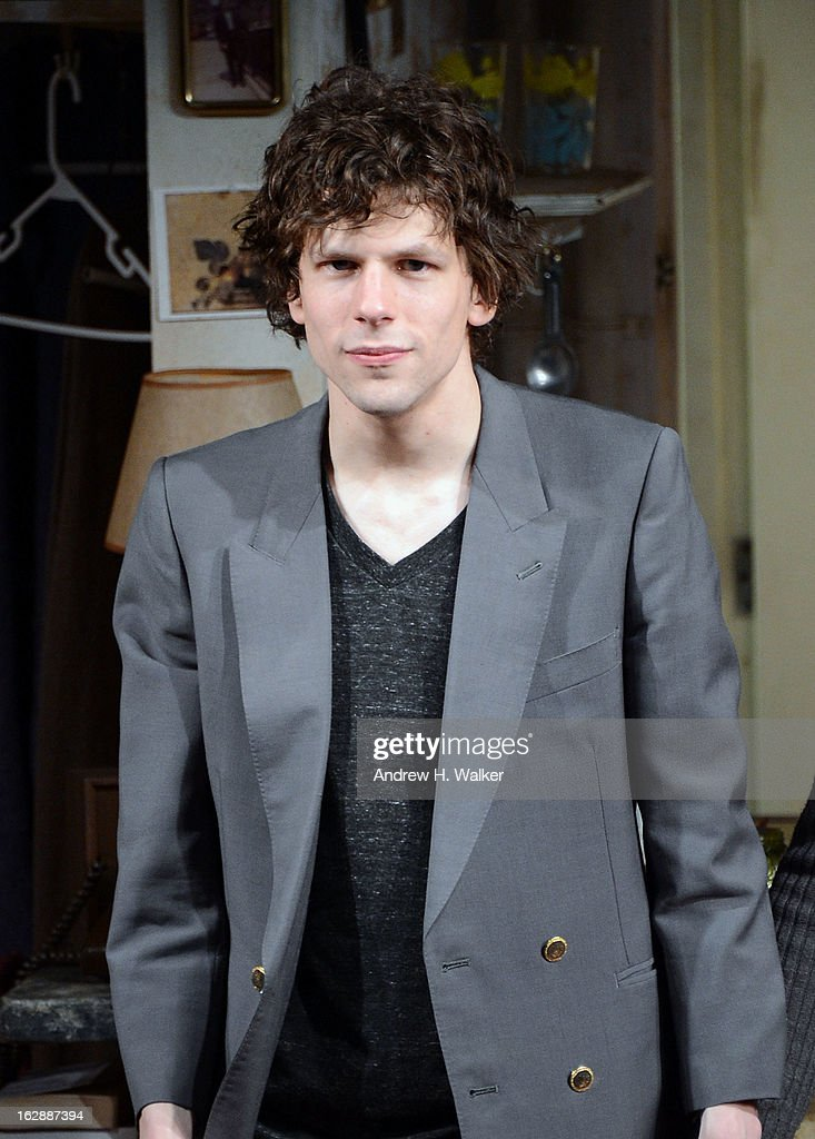Actor <a gi-track='captionPersonalityLinkClicked' href=/galleries/search?phrase=Jesse+Eisenberg&family=editorial&specificpeople=625439 ng-click='$event.stopPropagation()'>Jesse Eisenberg</a> takes his bow at 'The Revisionist' opening night at Cherry Lane Theatre on February 28, 2013 in New York City.