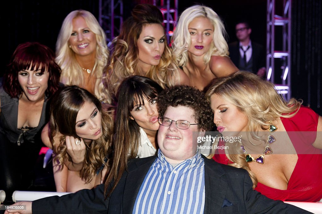 Actor Jesse Heiman poses with 'Pieces(Of Ass)' performers at the 'Pieces(Of Ass)' Opening Night Los Angeles Performance at The Fonda Theatre on March 28, 2013 in Los Angeles, California.