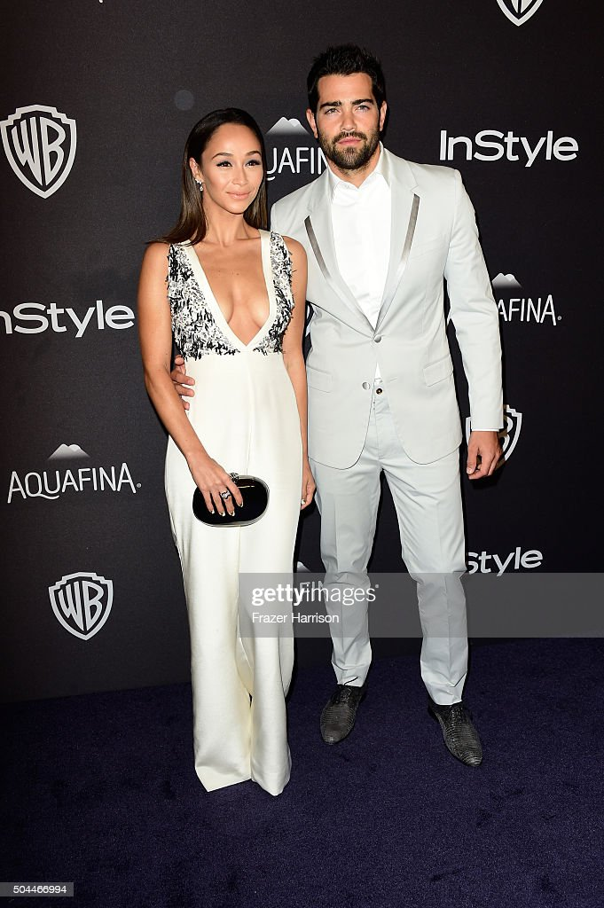 Actor Jesse Metcalfe and Cara Santana attend InStyle and Warner Bros 73rd Annual Golden Globe Awards PostParty at The Beverly Hilton Hotel on January...