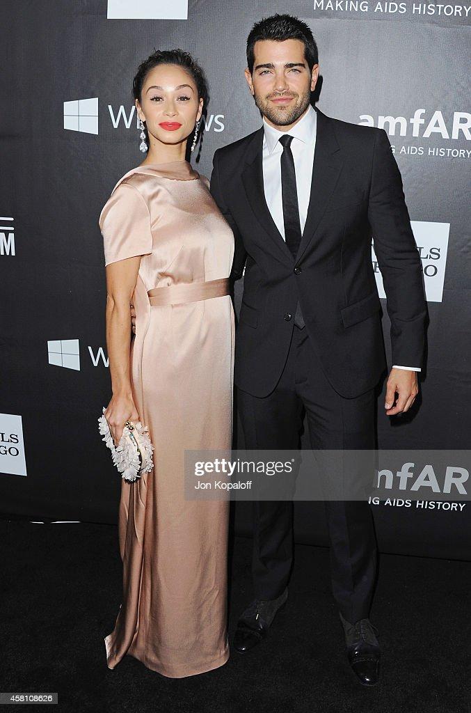 Actor Jesse Metcalfe and Carla Santana arrive at the 2014 amfAR LA Inspiration Gala at Milk Studios on October 29 2014 in Hollywood California