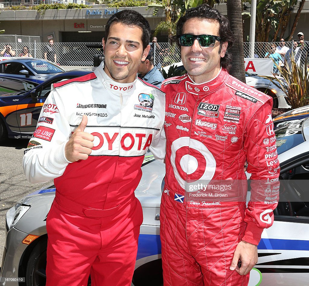 Actor <a gi-track='captionPersonalityLinkClicked' href=/galleries/search?phrase=Jesse+Metcalfe&family=editorial&specificpeople=208805 ng-click='$event.stopPropagation()'>Jesse Metcalfe</a> (L) and Indy Car driver <a gi-track='captionPersonalityLinkClicked' href=/galleries/search?phrase=Dario+Franchitti&family=editorial&specificpeople=171306 ng-click='$event.stopPropagation()'>Dario Franchitti</a> attend the 37th Annual Toyota Pro/Celebrity Race qualifying on April 19, 2013 in Long Beach, California.