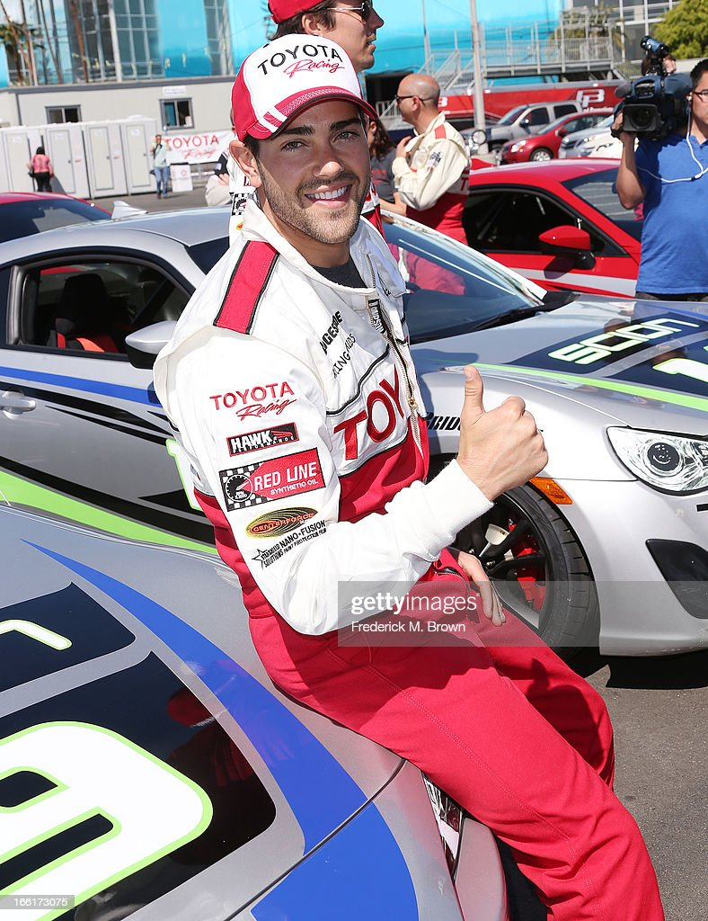 Actor Jesse Metcalfe gives a thumbs up during the 37th Annual Toyota Pro/Celebrity Race-Practice Day on April 9, 2013 in Long Beach, California.