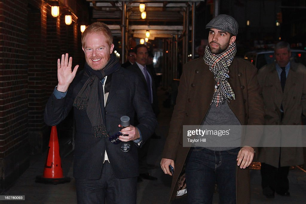Actor Jesse Tyler Ferguson and fiancee Justin Mikita arrive at 'Late Show with David Letterman' at Ed Sullivan Theater on February 26, 2013 in New York City.