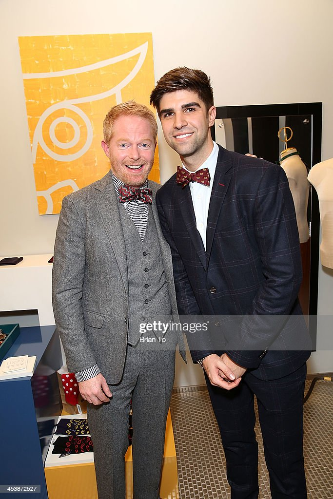 Actor <a gi-track='captionPersonalityLinkClicked' href=/galleries/search?phrase=Jesse+Tyler+Ferguson&family=editorial&specificpeople=633114 ng-click='$event.stopPropagation()'>Jesse Tyler Ferguson</a> (L) and husband <a gi-track='captionPersonalityLinkClicked' href=/galleries/search?phrase=Justin+Mikita&family=editorial&specificpeople=7458663 ng-click='$event.stopPropagation()'>Justin Mikita</a> attend Tie The Knot Pop-Up Store at The Beverly Center on December 5, 2013 in Los Angeles, California.