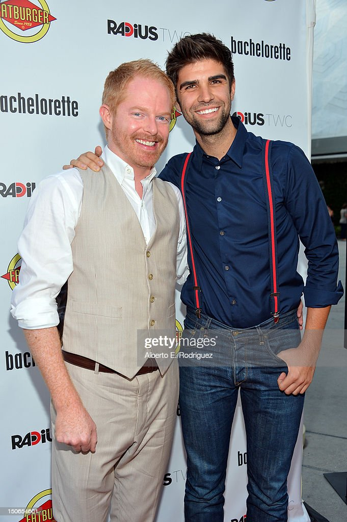 Actor <a gi-track='captionPersonalityLinkClicked' href=/galleries/search?phrase=Jesse+Tyler+Ferguson&family=editorial&specificpeople=633114 ng-click='$event.stopPropagation()'>Jesse Tyler Ferguson</a> and Justin Mikita arrive at the premiere of RADiUS-TWC's 'Bachelorette' at ArcLight Cinemas on August 23, 2012 in Hollywood, California.