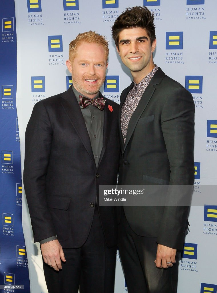 Actor <a gi-track='captionPersonalityLinkClicked' href=/galleries/search?phrase=Jesse+Tyler+Ferguson&family=editorial&specificpeople=633114 ng-click='$event.stopPropagation()'>Jesse Tyler Ferguson</a> (L) and <a gi-track='captionPersonalityLinkClicked' href=/galleries/search?phrase=Justin+Mikita&family=editorial&specificpeople=7458663 ng-click='$event.stopPropagation()'>Justin Mikita</a> attend the Human Rights Campaign Los Angeles Gala dinner at JW Marriott Los Angeles at L.A. LIVE on March 22, 2014 in Los Angeles, California.