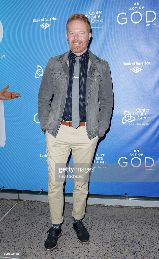 Actor Jesse Tyler Ferguson arrives at Opening Night of 'An Act Of God' at Ahmanson Theatre on February 10 2016 in Los Angeles California