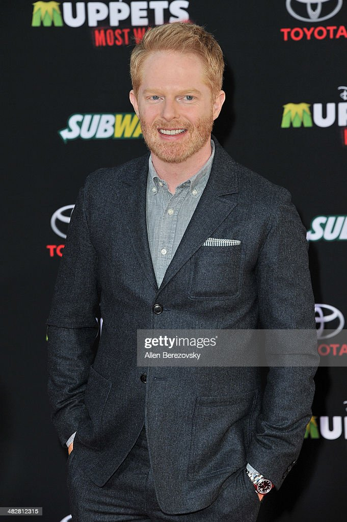Actor <a gi-track='captionPersonalityLinkClicked' href=/galleries/search?phrase=Jesse+Tyler+Ferguson&family=editorial&specificpeople=633114 ng-click='$event.stopPropagation()'>Jesse Tyler Ferguson</a> arrives at the Los Angeles premiere of 'Muppets Most Wanted' at the El Capitan Theatre on March 11, 2014 in Hollywood, California.