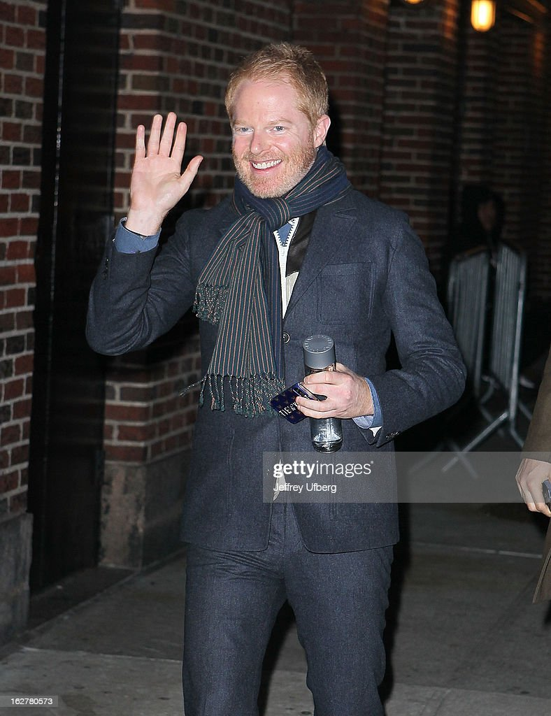 Actor <a gi-track='captionPersonalityLinkClicked' href=/galleries/search?phrase=Jesse+Tyler+Ferguson&family=editorial&specificpeople=633114 ng-click='$event.stopPropagation()'>Jesse Tyler Ferguson</a> arrives to 'Late Show with David Letterman' at Ed Sullivan Theater on February 26, 2013 in New York City.