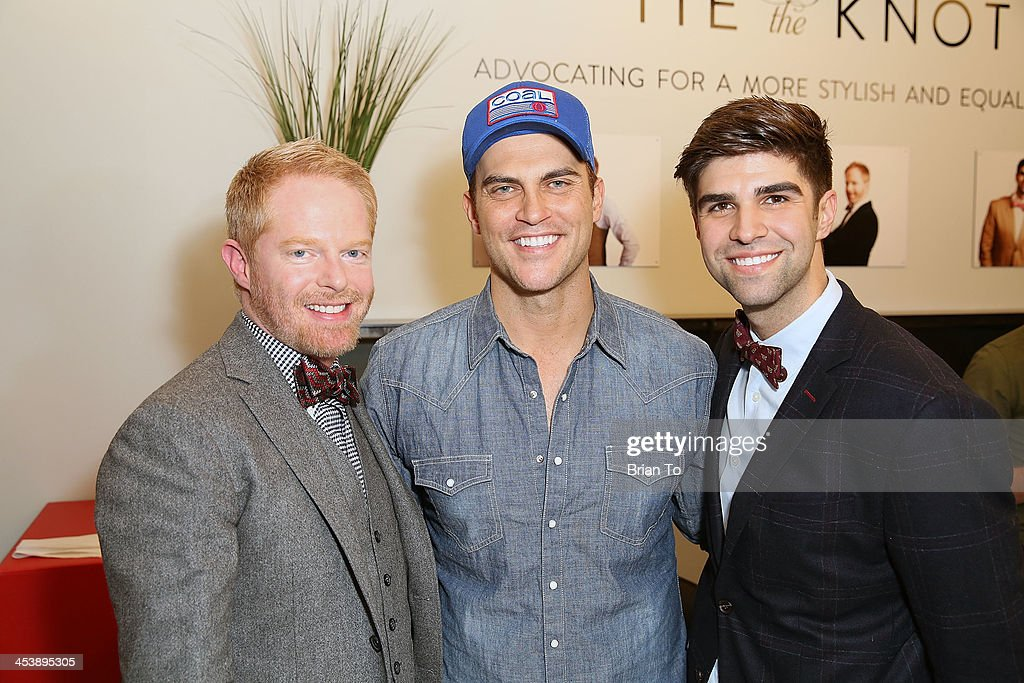 Actor <a gi-track='captionPersonalityLinkClicked' href=/galleries/search?phrase=Jesse+Tyler+Ferguson&family=editorial&specificpeople=633114 ng-click='$event.stopPropagation()'>Jesse Tyler Ferguson</a>, <a gi-track='captionPersonalityLinkClicked' href=/galleries/search?phrase=Cheyenne+Jackson&family=editorial&specificpeople=216481 ng-click='$event.stopPropagation()'>Cheyenne Jackson</a>, and <a gi-track='captionPersonalityLinkClicked' href=/galleries/search?phrase=Justin+Mikita&family=editorial&specificpeople=7458663 ng-click='$event.stopPropagation()'>Justin Mikita</a> attend Tie The Knot Pop-Up Store at The Beverly Center on December 5, 2013 in Los Angeles, California.
