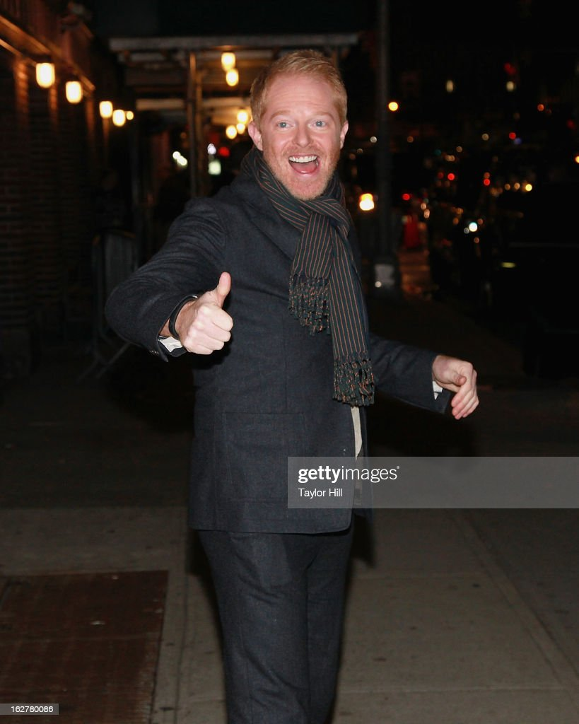 Actor <a gi-track='captionPersonalityLinkClicked' href=/galleries/search?phrase=Jesse+Tyler+Ferguson&family=editorial&specificpeople=633114 ng-click='$event.stopPropagation()'>Jesse Tyler Ferguson</a> departs 'Late Show with David Letterman' at Ed Sullivan Theater on February 26, 2013 in New York City.