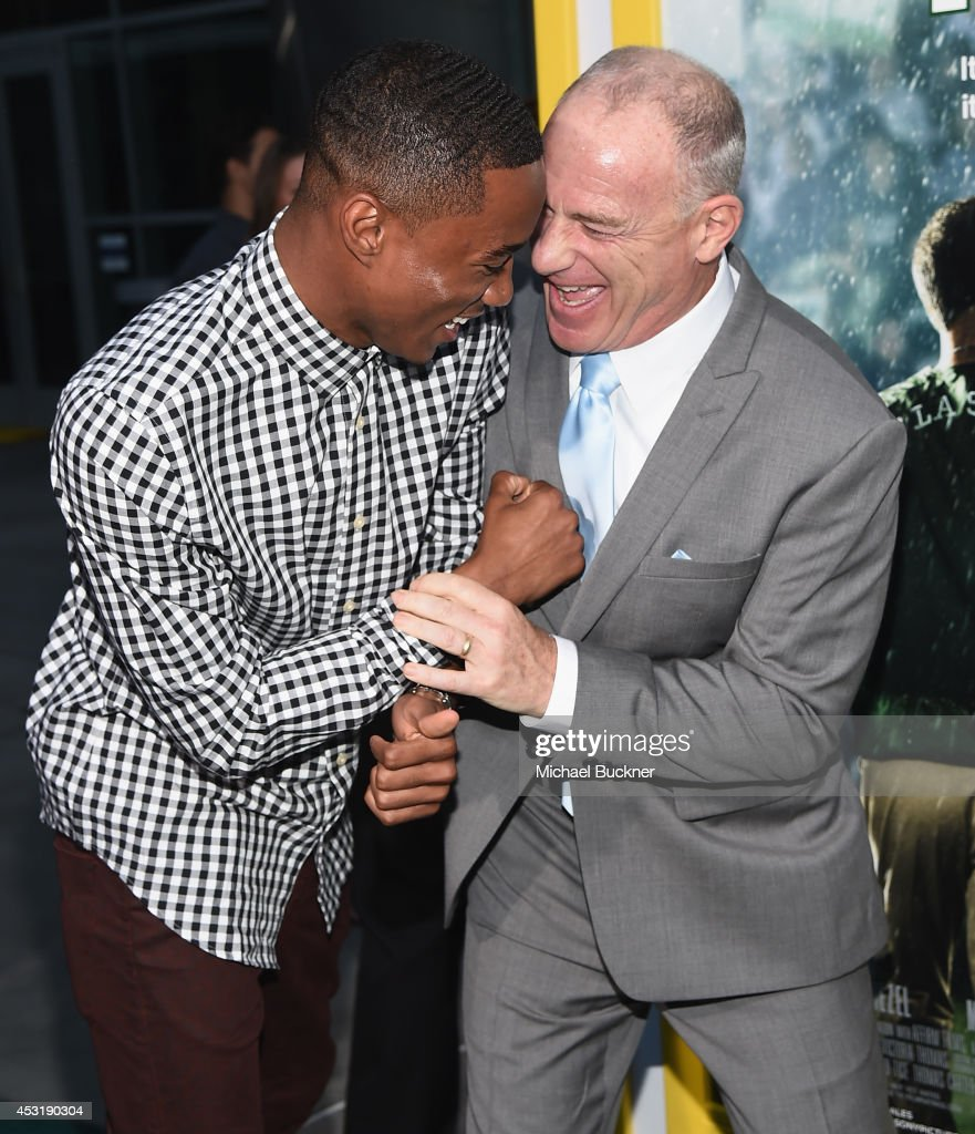 Actor Jesse Usher and producer David Zelon arrives at the premire of Tri Star Pictures' ' When The Game Stands Tall' at the ArcLight Cinemas on August 4, 2014 in Hollywood, California.