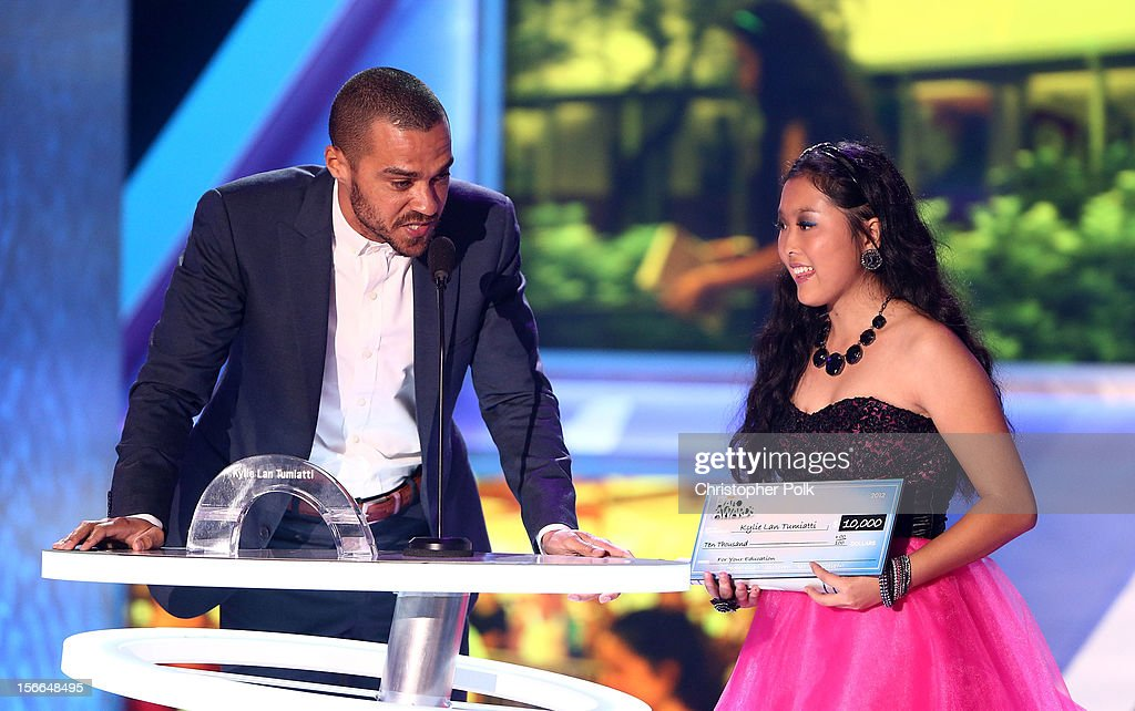 Actor Jesse Williams and 2012 HALO Award Nominee Kylie Lan Tumiatti speak onstage at Nickelodeon's 2012 TeenNick HALO Awards at Hollywood Palladium on November 17, 2012 in Hollywood, California. The show premieres on Monday, November 19th, 8:00p.m. (ET) on Nick at Nite.