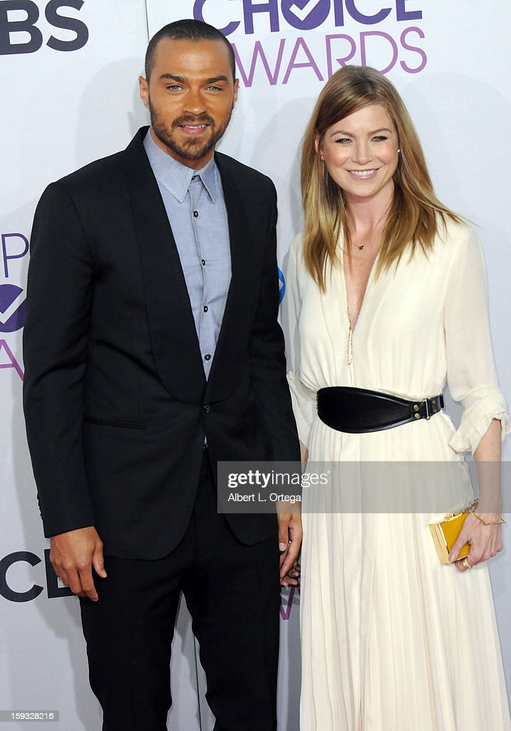 Actor Jesse Williams and actress Ellen Pompeo arrive for the 34th Annual People's Choice Awards - Arrivals held at Nokia Theater at L.A. Live on January 9, 2013 in Los Angeles, California.