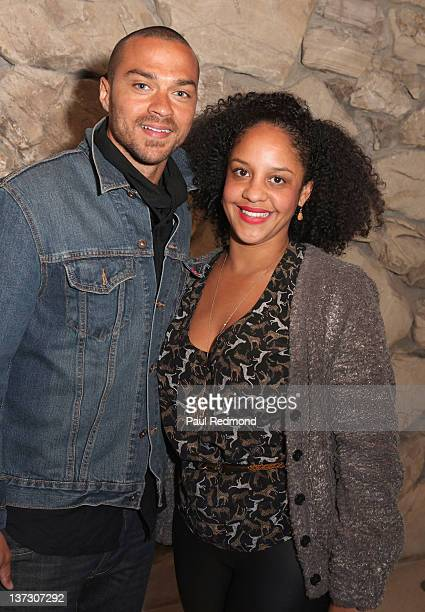 Actor Jesse Williams and Aryn DrakeLee attend the Art Los Angeles Contemporary 2012 VIP Reception at the home of Eugenio Lopez celebrating the...