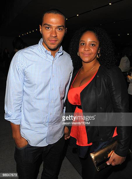 Actor Jesse Williams and Aryn DrakeLee attend the Prada book launch cocktail held at Prada Rodeo Drive on November 13 2009 in Beverly Hills California