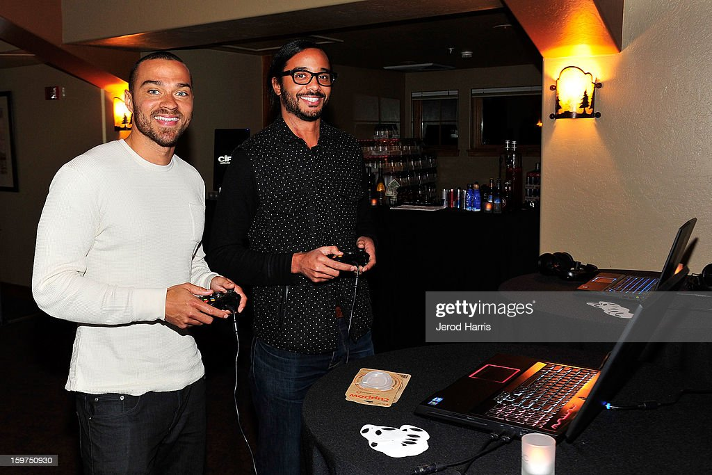 Actor Jesse Williams and attorney Andre Des Rochers attend the Google + Hangout at the DELL #Inspire 100 Lounge on January 19, 2013 in Park City, Utah.