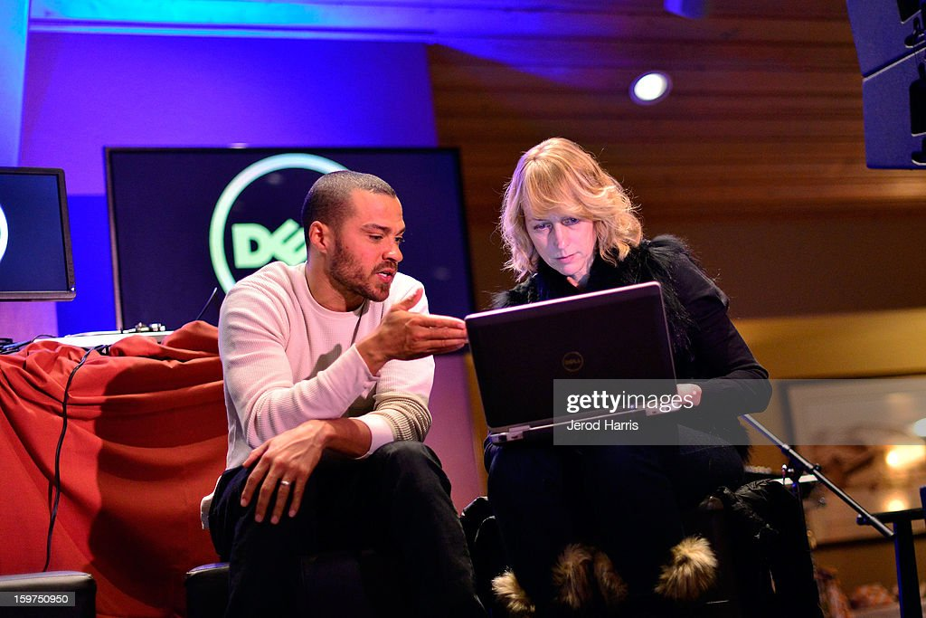 Actor Jesse Williams and DELL Managing Editor of Global Communications Stephanie Losee attend a Google + Hangout at the DELL #Inspire 100 Lounge on January 19, 2013 in Park City, Utah.