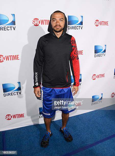 Actor Jesse Williams attends DIRECTV'S Seventh Annual Celebrity Beach Bowl at DTV SuperFan Stadium at Mardi Gras World on February 2 2013 in New...