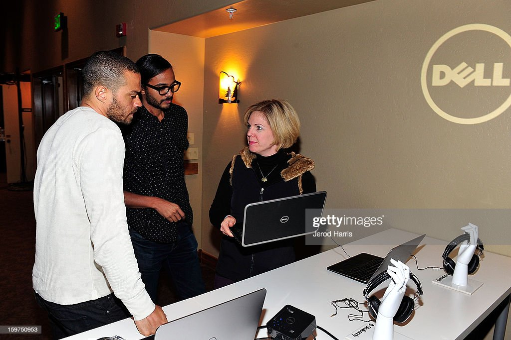 Actor Jesse Williams, attorney Andre Des Rochers and DELL SMB of Global Communications Jennifer 'JJ' Davis attend the Google + Hangout at the DELL #Inspire 100 Lounge on January 19, 2013 in Park City, Utah.