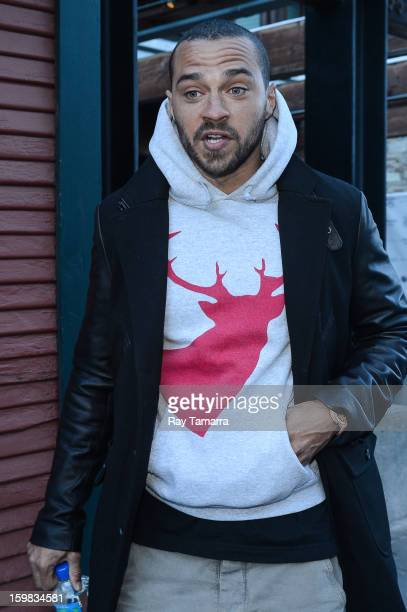 Actor Jesse Williams leaves the Nikki Beach Lounge at the Sky Lodge on January 20 2013 in Park City Utah