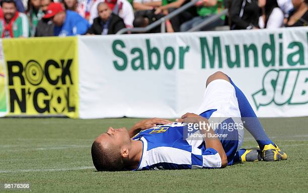Actor Jesse Williams rests at MTV Tr3s's 'Rock N' Gol' World Cup KickOff at the Home Depot Center on March 31 2010 in Carson California