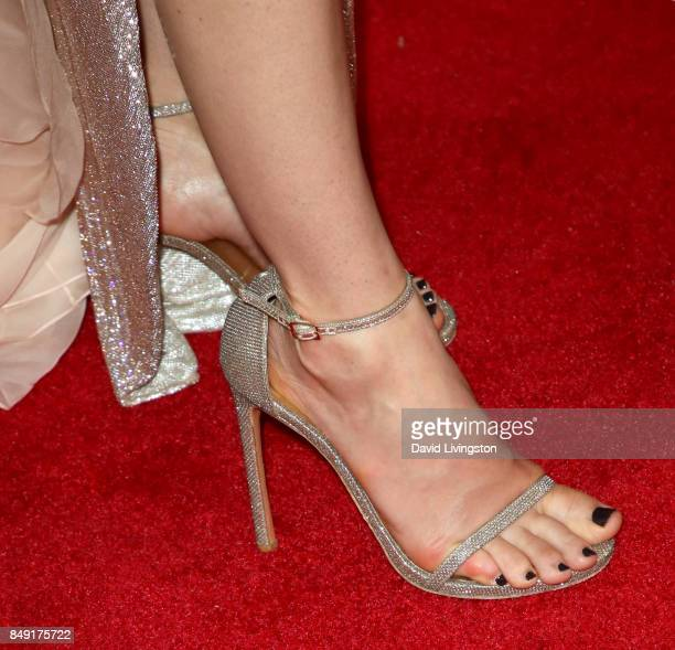 Actor Jessica Biel shoe detail attends the 69th Annual Primetime Emmy Awards at Microsoft Theater on September 17 2017 in Los Angeles California