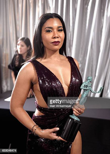 Actor Jessica Pimentel winner of the Outstanding Ensemble in a Comedy Series award of 'Orange Is the New Black' poses in the press room during The...