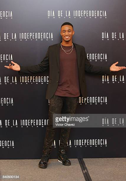 Actor Jessie T Usher attends a photocall and press conference to promote the new film 'Independence Day Resurgence' at Four Seasons Hotel on June 17...